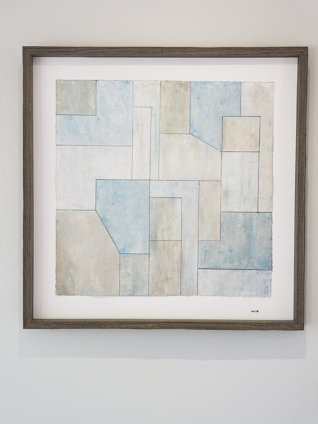 Abstract print 22x22 in. - Neutral Studies Blue n.1