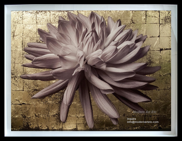 Copy of Contemporary Floral Still life - Flower Series - Gold Leaves Collage 2