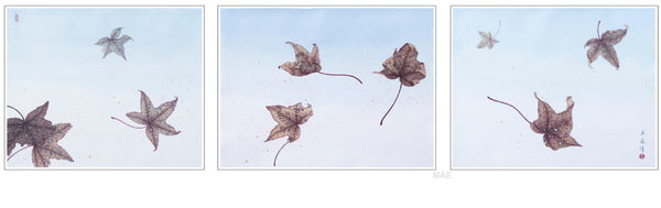 "Contemporary Chinese Ink - Dancing in the Wind II (triptych) 21x17.5""  x 3"