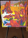 Landscape oil painting - Sunset Red Mountains, California, 1994, #1160