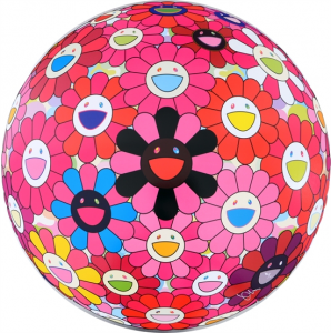 Takashi Murakami Offset print - Pink Flower Ball 3D - There is Nothing Eternal in This World..  unframed