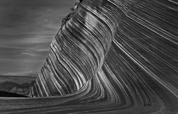 "Black and White Photography of American landscape series - ""The Wave, Paria Canyon, Arizona"" n.2"