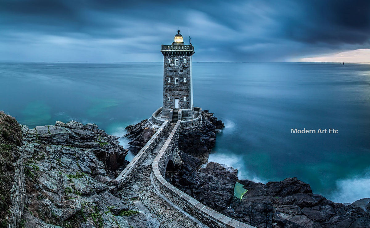 Architectural Structures -  Lighthouse Blue, Europe - Large photography - Framed - Installation ready