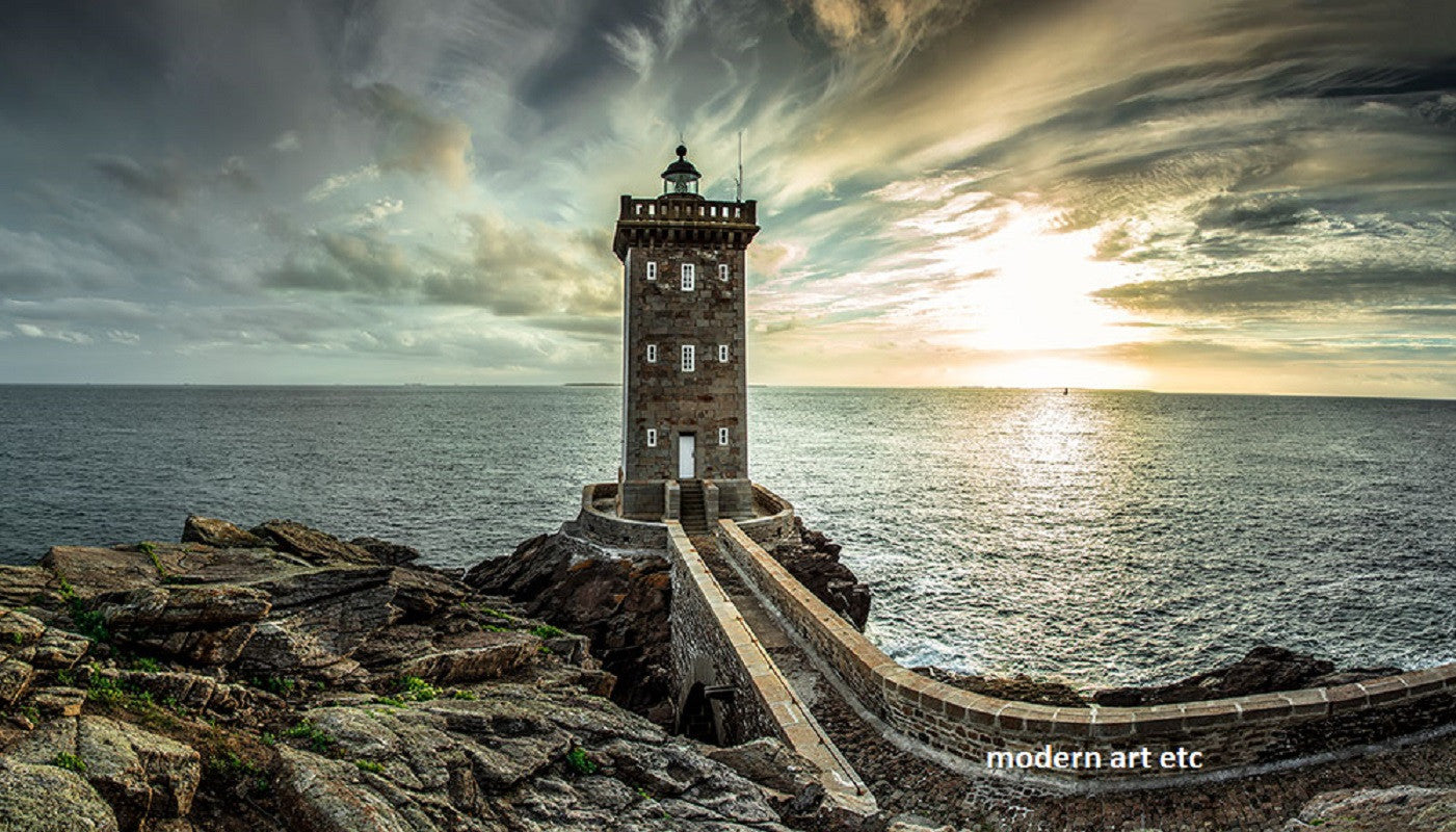 Architectural Structures -  Lighthouse Sunset, Europe - Large photography - Framed/ Installation ready