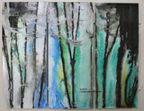 Large Abstract Art on Glass - Katiff Blue