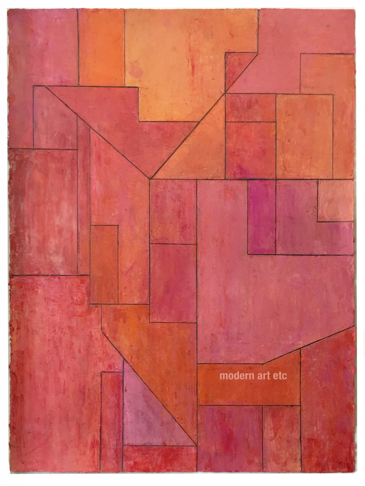 Abstract oil on paper 22x30 in. - Architectural forms - Red, Stephen Cimini - unframed