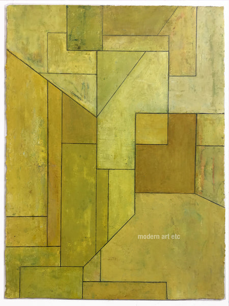 "Abstract oil on paper,  22x30 in. - Architectural forms - ""Olive Tree"", Stephen Cimini - unframed"