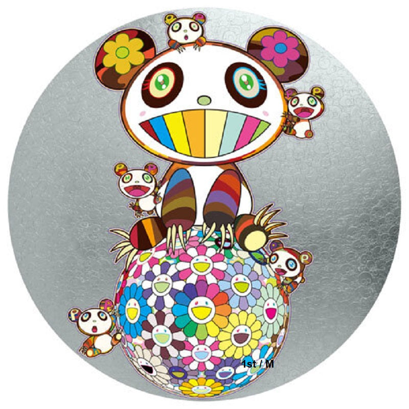 Panda with Panda Cubs on Flower Ball - unframed