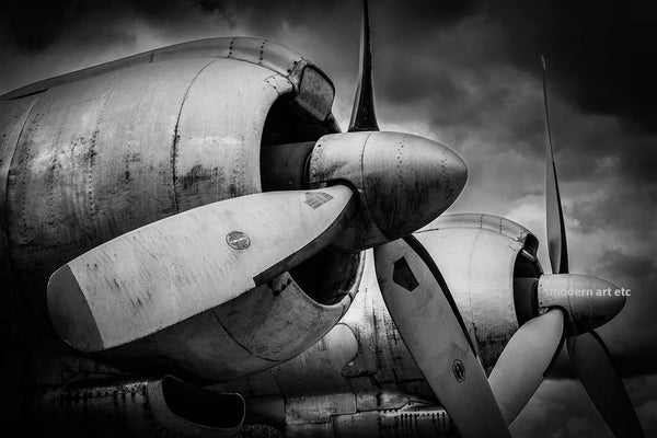 Vintage airplanes art photography - FOUR - installation ready - contemporary frame