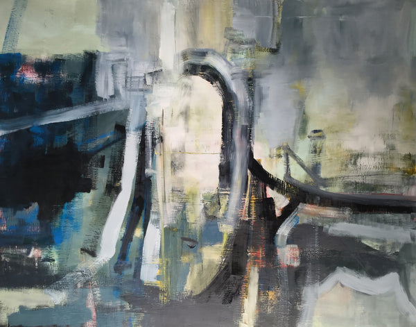 "50 x 63 in. Large Abstract Expressionist Oil Painting on Linen  ""Skyline"""