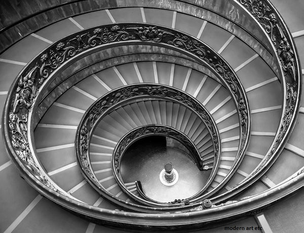 Architectural Interiors - Spiral Stairs B&W- Europe - Framed - Installation ready