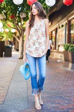 Ivory Sleeveless Floral