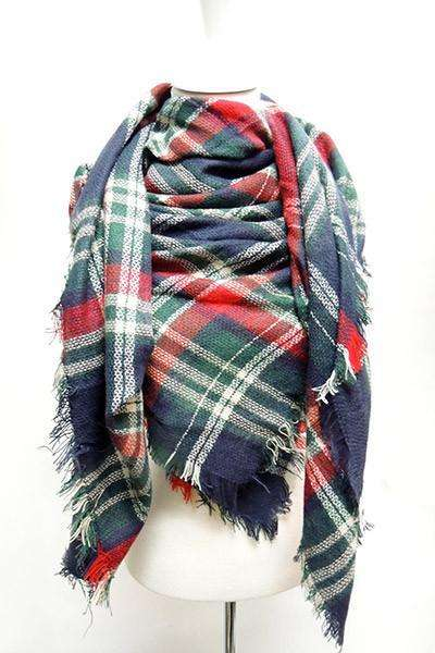 Navy/Green Multi Scarf