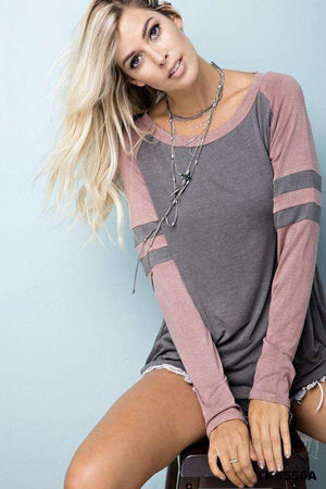 Pink and Charcoal Striped