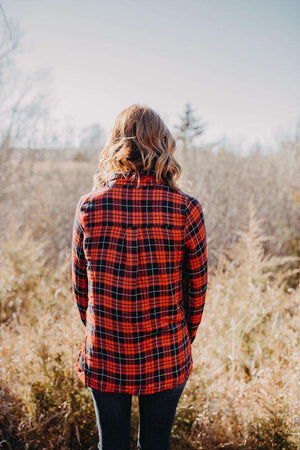 Red Lace Up Plaid