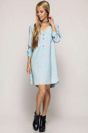Stone-Washed Shirt Dress