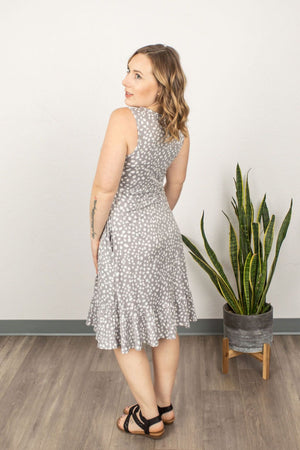 Bailey Ruffle Tank Dress - Grey Dot