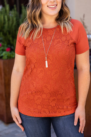 Lace Front Tee - Pumpkin