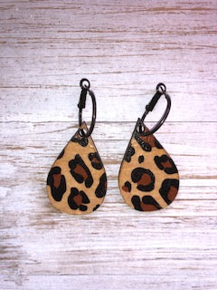 Wood Leopard Earrings