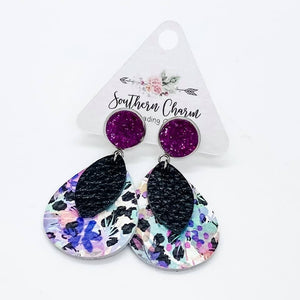 Black Fuchsia Abstract Dangles