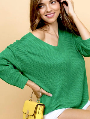 Benetton Green V-neck