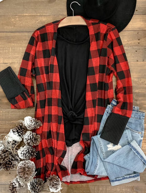 Buffalo Plaid Thumbhole Cardi