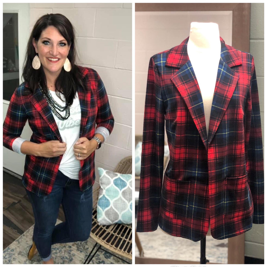 Red Plaid Blazer Jacket
