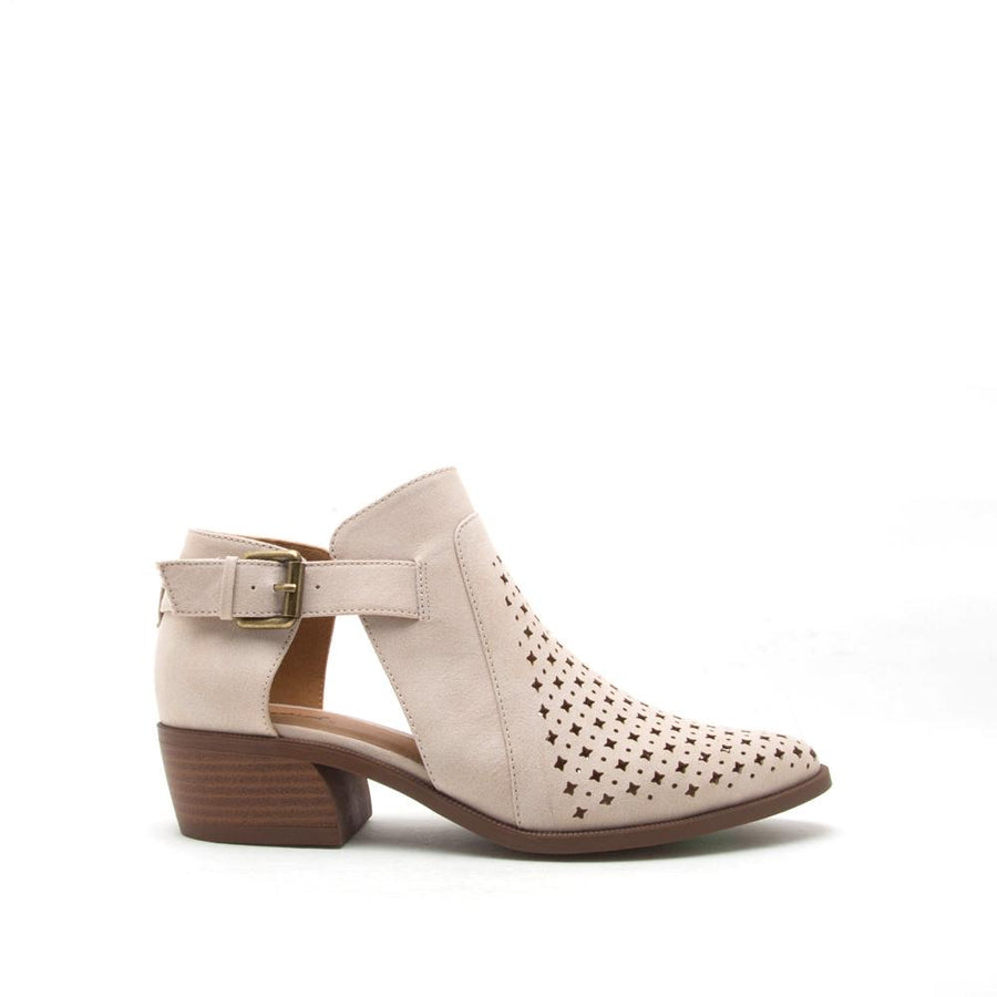 Distressed Beige Bootie