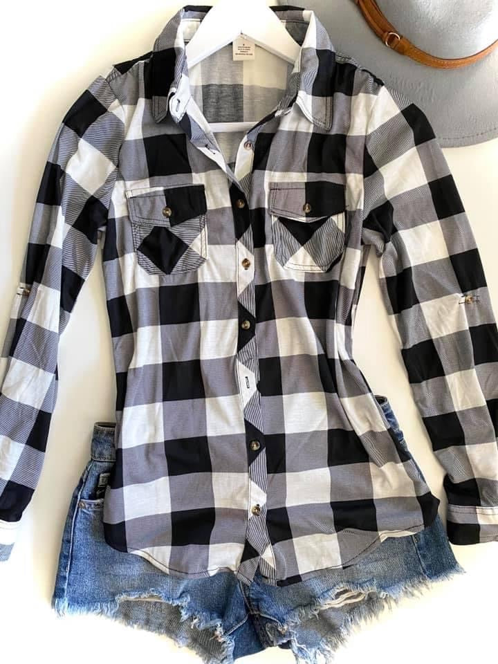 White Buffalo Plaid Flannel