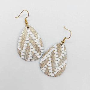 Chevron Gold Leather Earrings