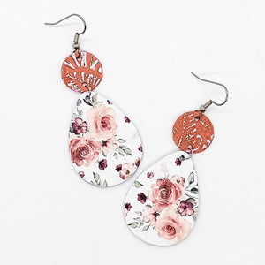 Coral and White Floral Piggyback Earrings
