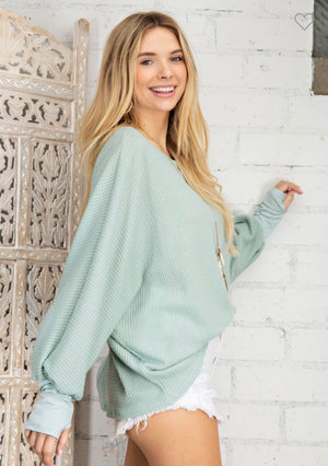 Sage Dolman Puff Sleeve Top