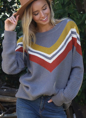 Grey Chevron Sweater