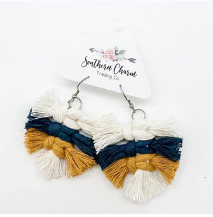 Mustard and Navy Macrame Earrings