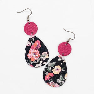Pink and Black Floral Piggyback Earrings