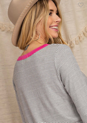 Fuchsia Pin Stripe Top