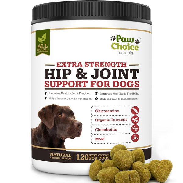 Hip and Joint Support Chews for Dogs with Glucosamine, Chondroitin, MSM, Organic Turmeric | 120 Soft Chews