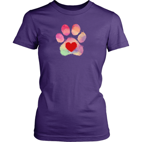Colorful Paw With Heart - Shirt