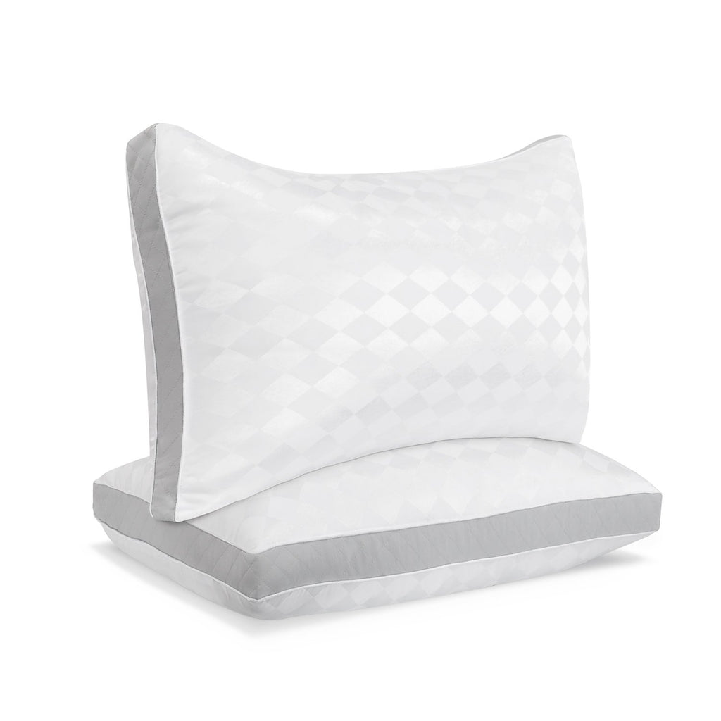 Beckham Hotel Collection Gusset Gel Pillow (2-Pack) - Diamond Embossed Luxury Gel Pillow - Hypoallergenic