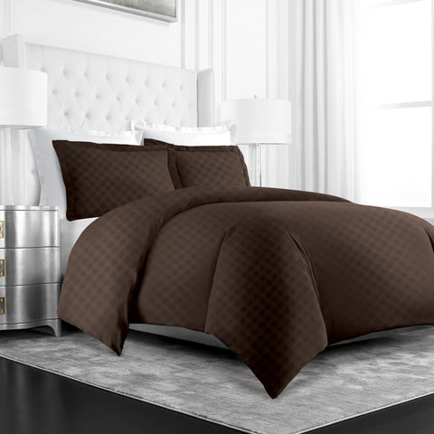 Beckham Hotel Collection Luxury Soft Brushed Microfiber Duvet Cover Set with Embossed Diamond Pattern