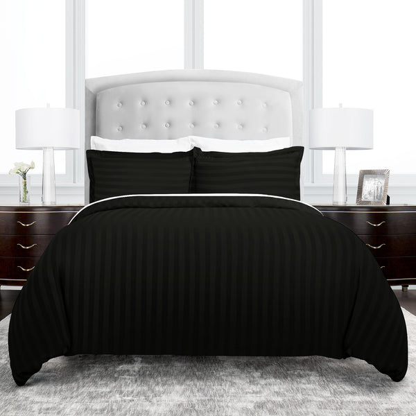 Beckham Hotel Collection Dobby Striped Duvet Cover Set - Luxury Soft Brushed Microfiber with Matching Shams - Hypoallergenic