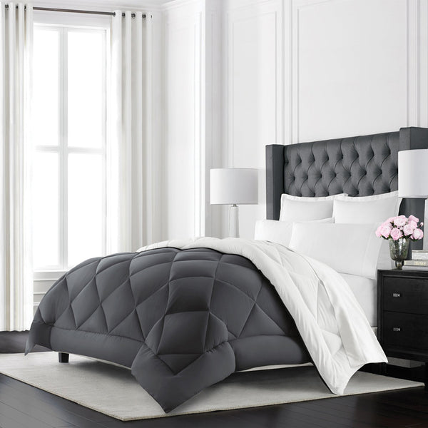 Beckham Hotel Collection Goose Down Alternative Reversible Comforter - All Season - Premium Quality Luxury Hypoallergenic Comforter
