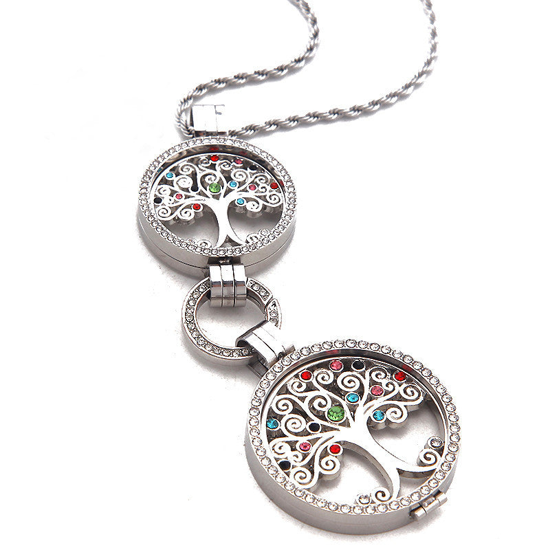 Double coin holder tree of life pendant necklace aloadofball Images