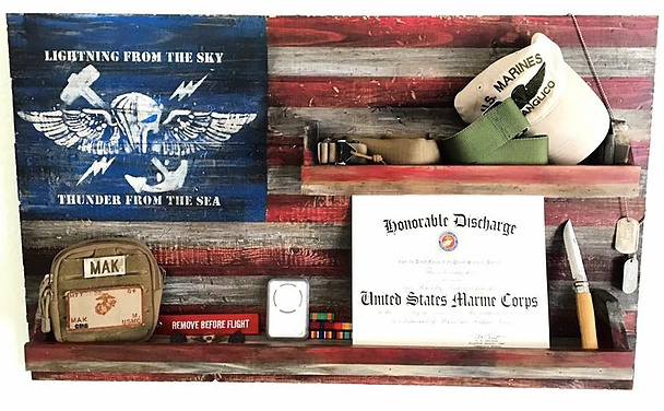 Gifts for Marines -- custom wood flag