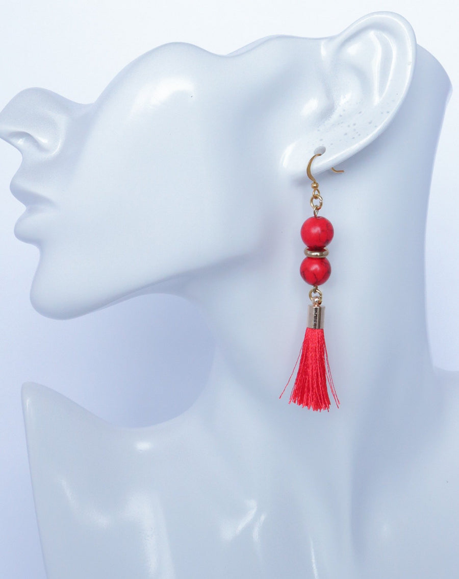Double bead drop earrings