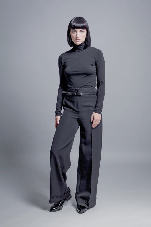 Wide-Leg turn up trousers - BUNO DESIGN