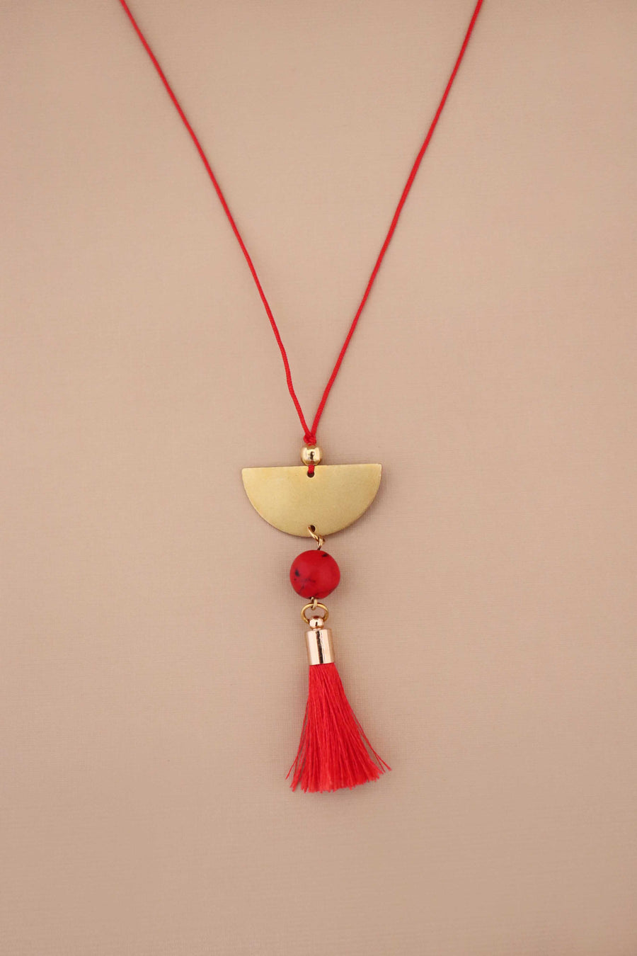 Half Moon Red Turquoise  Adjustable Necklace