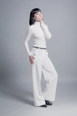 Wide-Leg turn up trousers