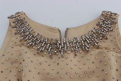 Beige Crystal Embellished Gown Shift Dress