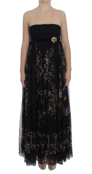 Black Key Print Silk Crystal Brooch Dress